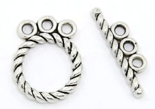 3 Strand Toggle Tbar 10 Clasp Sterling Silver Plated Tibetan Bali Jewelry Making