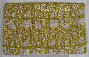 Indian 100% Cotton Applique Bedspread Kantha Quilt Throw Ethnic Blanket Coverlet