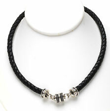 KIRKS FOLLY BRAIDED BLACK LEATHER MAGNETIC INTERCHANGEABLE NECKLACE - SILVERTONE