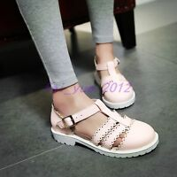 Womens Brogue Lolita Low Heels T-strap Buckle Creeper Shoes Sandals Hollow Out