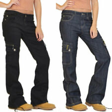 Womens Cargo Work Office Trousers Military Combat Wide Leg Workwear Casual Pants