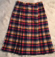 Womans Vintage Plaid Pleated Skirt Size 12