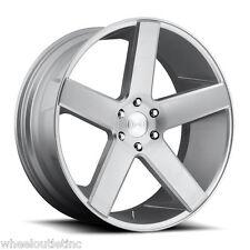 """24"""" DUB Baller Wheels S218 Brushed Silver Rims Escalade Silverado Yukon Denali"""