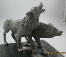 rare wolves running howling coyote yellowstone ratrod hotrod car hood ornament