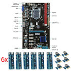6 GPU 6 PCI-E Mining Motherboard + 6pcs PCI Extender Riser For ETH RIG BTC Miner