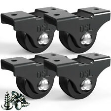 More details for 4 dsl small 25mm fixed rubber castor wheels furniture trolley caster brake 60kg