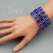 Rhodium Plated Blue Crystal Wedding Bangle Cuff Stretch Bracelet 09749 Party
