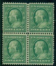 US #357 1¢ Bluish Paper Block of 4, top pair hinged/bottom pair NH Weiss cert
