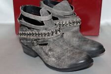 NEW! NIB NAUGHTY MONKEY Distressed Black FISHTAIL Leather Harness Ankle Boot 6.5