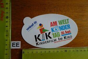 Alter Aufkleber Bühne Film Kino Video KINDERFILM im KINO UNICEF 20. Sept.