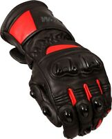 Weise Barracuda Mens Leather Black Red Sports Motorcycle Gloves
