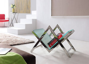 Ezo Mirror Stainless Steel Book Stand W/ White Tempered Glass (+ Free Clock)