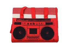 CLASSIC RADIO STRIPED RED WHITE BLACK LARGE CARRYING BEACH MAT 90CM X 180CM