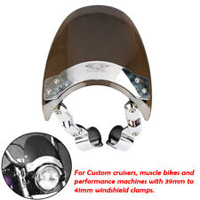 Round Motorcycle Headlight WindscreenWindshield 39-41mm Clamp For Harley Custom