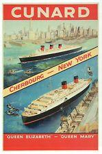 Queen Elizabeth & Queen Mary Cruise Ship Cunard Line, New York - Modern Postcard
