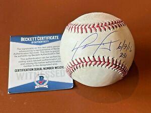 David Ortiz signed Game Used Baseball RBI #1696 to Pass Cal Ripken Jr - Beckett