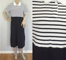 Vintage 1990s navy blue white striped Talbots collared knit dress large petite