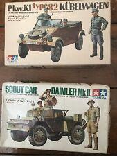 2 x Vintage Tamiya 1:35 Scout Car And Kubelwagon