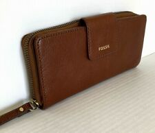 New Fossil Madison zip clutch wristlet Leather wallet Medium Brown with Dust bag