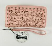 New with Tag Under One Sky Pink with Gold Wallet Dual Zipper Wrist Strap Studs