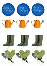 NOVELTY Happy Fathers Day Gardening Mix STAND UP Edible Cake Toppers Best Dad