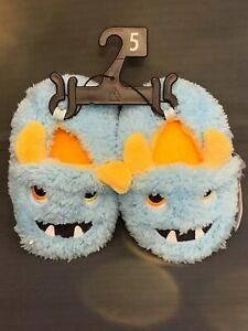 Wonder Nation Fuzzy Blue Monster Infant Toddler Plush Slippers - Sizes 2,4,5,6
