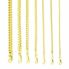 "10K Yellow Gold 1.5mm-6mm Square Wheat Box Franco Chain Pendant Necklace 16""-40"""