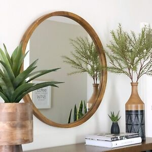**PRE ORDER Tina Dark Solid Wood Round Mirror 95cm DUE 30 JUNE 21