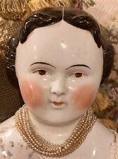 "Antique Rare 27"" Brown Eyed Civil War Era Flat Top China Head Doll"