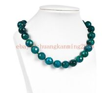"""Long 18"""" 22"""" 24"""" 10mm Faceted Chrysocolla Round Gemstone Beads Necklace"""