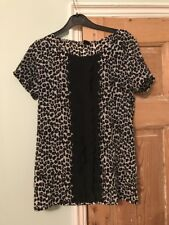 Next Black And White Leopard Animal Print Top With Frilled Trim Front Size 8