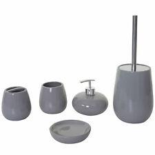 5-teiliges Badezimmerset MCW-C72, Badutensilien Badaccessoires Keramik, grau