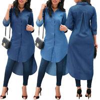 Women Denim Long Sleeve T-shirt Tops Casual  Blue Jeans Loose Shirt Mini Dress