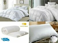 Luxury Duck Feather & Goose Feather Down Duvet Quilts/Pillows Bedding All Sizes