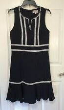 NANETTE LEPORE Black Dress Size 8 White Lace Trim, Sleeveless career fit flare