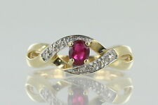 9ct Yellow Gold Ruby And Diamond Dress ring. Ruby With Certificate