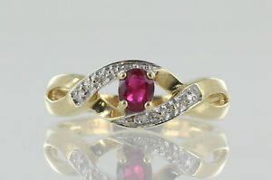 9ct Yellow Gold Ruby And Diamond Dress ring. Ruby With Certificate REF220