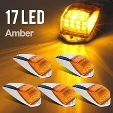 5 Amber 17 LED Cab Roof Marker Light Chrome for Peterbilt Kenworth Freightliner