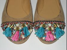 =CUTE= LOLA CRUZ Embellished Bead Bohemian Tribal Leather Flats Heels Shoes US6