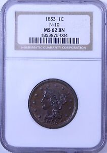 1853 Braided Hair Large Cent : NGC MS62BN  N-10