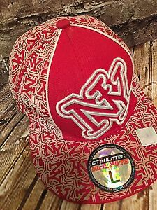 City Hunter NY Cap Red Tan Laser Cut L Baseball Trucker Fitted Hat Skater HipHop