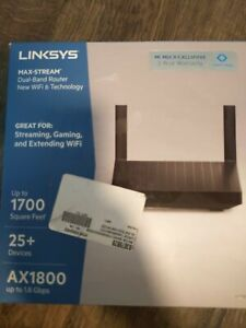 Linksys - Max-Stream AX1800 Dual-Band Mesh Wi-Fi 6 Router - Black