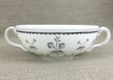 Wedgwood Twin Handled Soup Bowl Grey Flowers Nut Candy Dish Bone China Floral