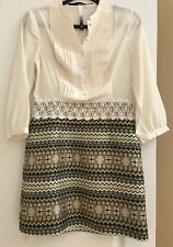 Kensie Dress Womens Size Small Ivory Gold 3/4 Sleeve EUC