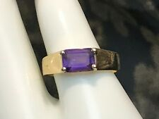 SIGNED 14K SOLID YELLOW GOLD 1.0 CARAT NATURAL AMETHYST RING + RING BOX SIZE 6