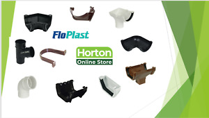 Floplast Gutter Guttering Downpipe Black Brown Grey White Round Square Fittings