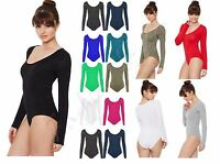 MH Womens Ladies Scoop Neck Bodysuit Long Sleeve Leotard Plain Stretch Basic Top