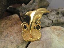 Vintage Jj Jonette Jewelry Gold tone Dolphin Shell Wave Pin Brooch