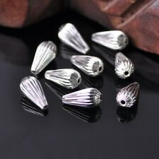 20pcs 14x7mm Plicated Teardrop Silver Metal Brass Alloy Loose Spacer Beads