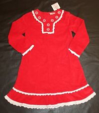 Hanna Andersson Red Corduroy Dress Embroidered Eyelet Lace Christmas 120 6 7 8